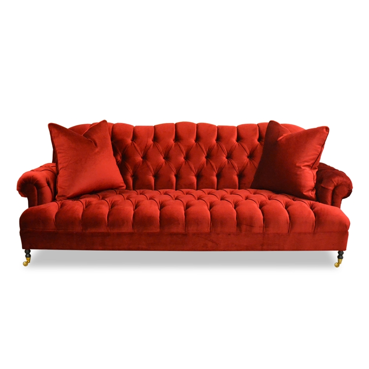 dining room chairs with arms and casters round rocking chair red velvet tufted sofa - hollywood glam haute house home