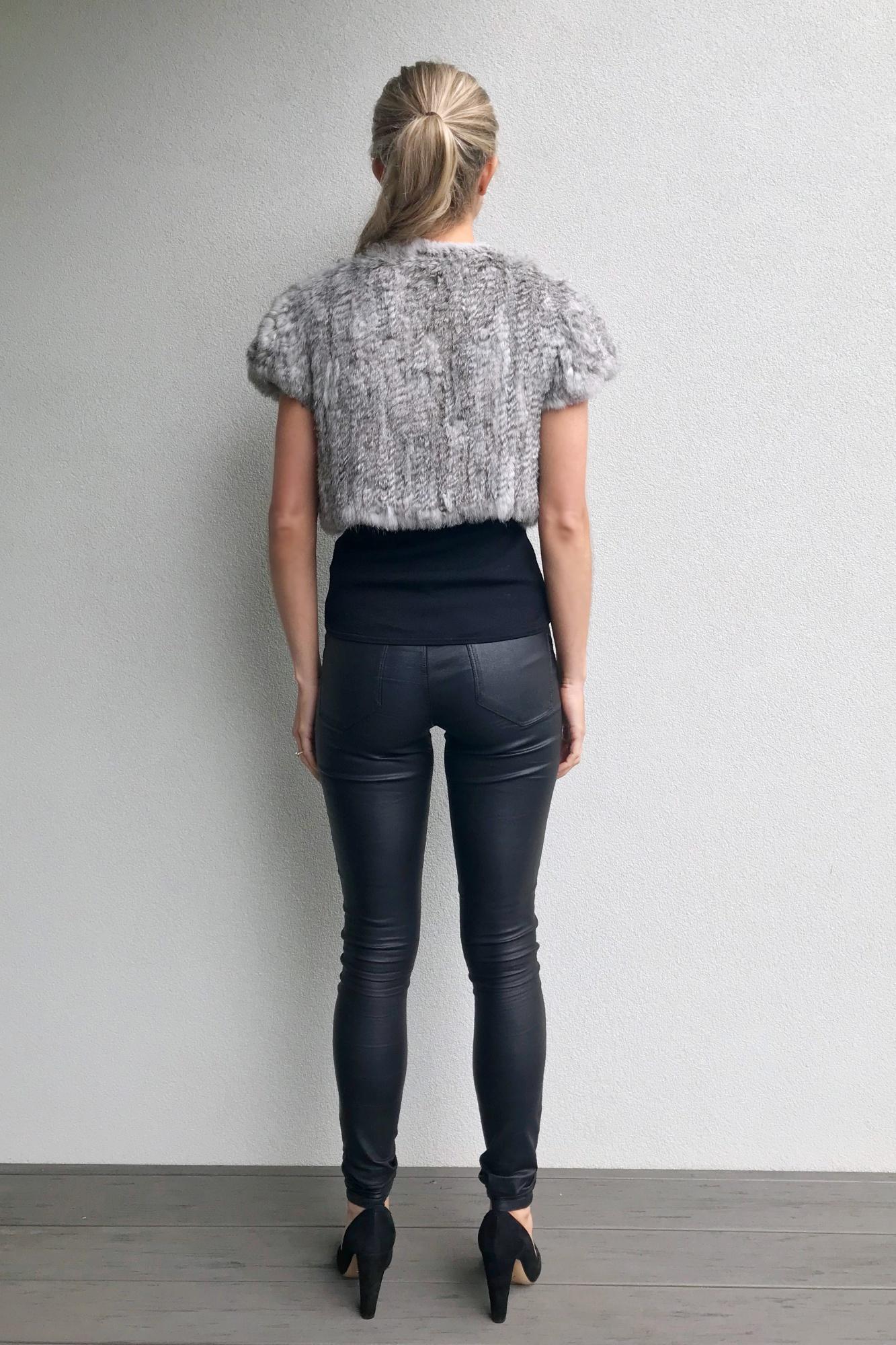 hight resolution of cropped woven fur bolero natural grey
