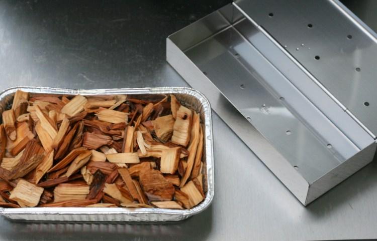 wood chips and smoker box