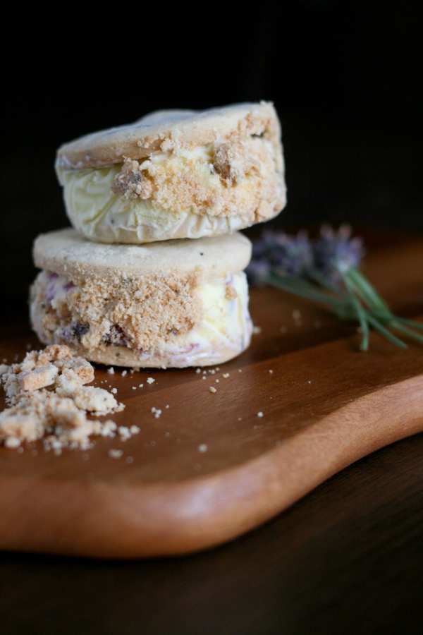 Lavender Shortbread and Mulberry Ice Cream Cookie Sandwiches