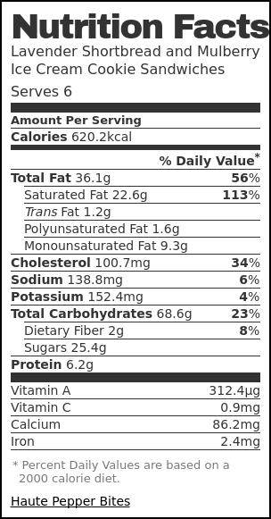 Nutrition label for Lavender Shortbread and Mulberry Ice Cream Cookie Sandwiches