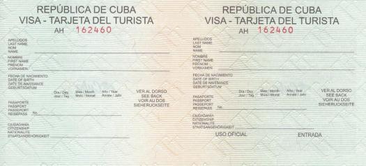 leere Touristenkarte Kuba. Diese ist vor der Einreise noch auszufüllen.