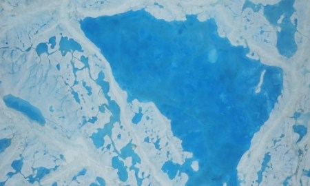 Nasa image shows sea ice across the Arctic Ocean shrinking to below-average levels this summer. Photograph: Nasa/AFP/Getty Images
