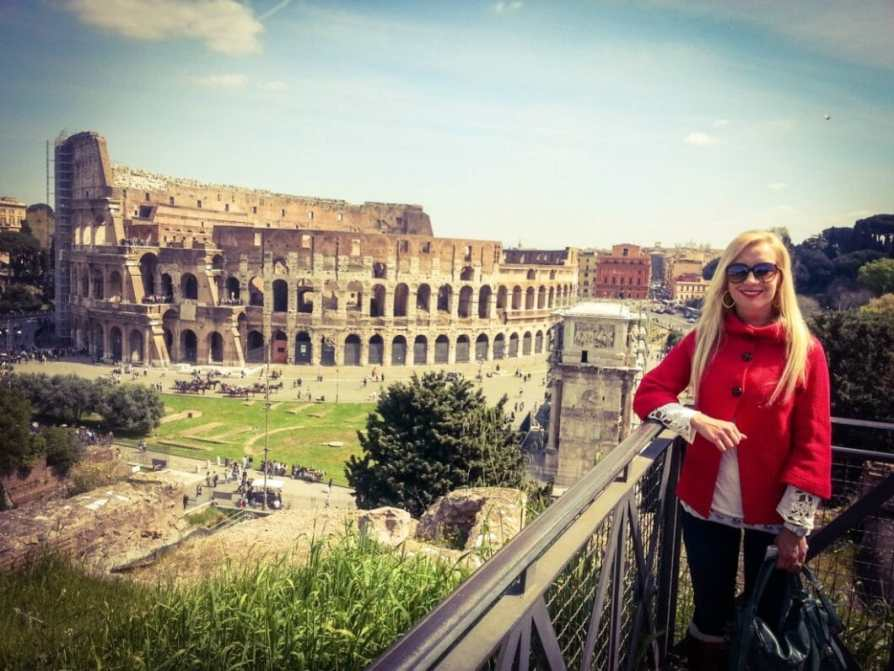 This view of the Colosseum is on a trail near the exit of the Roman Forum.