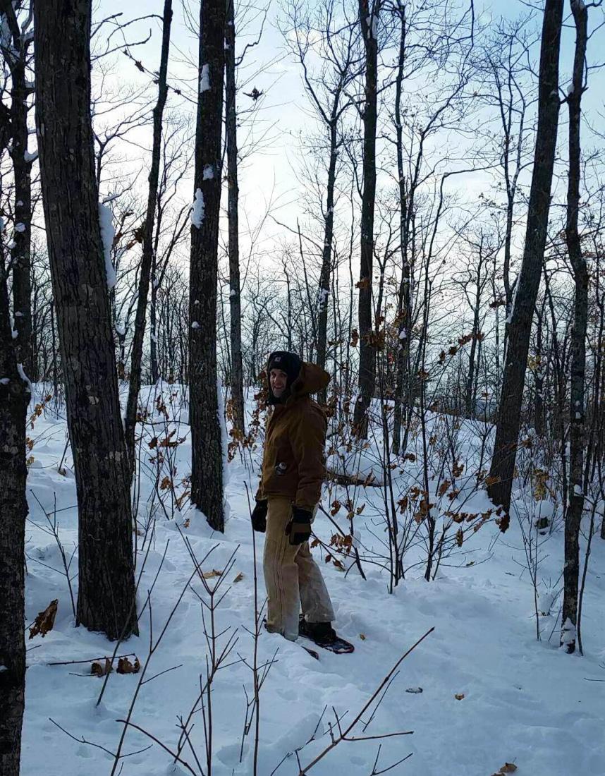 Zac snowshoeing