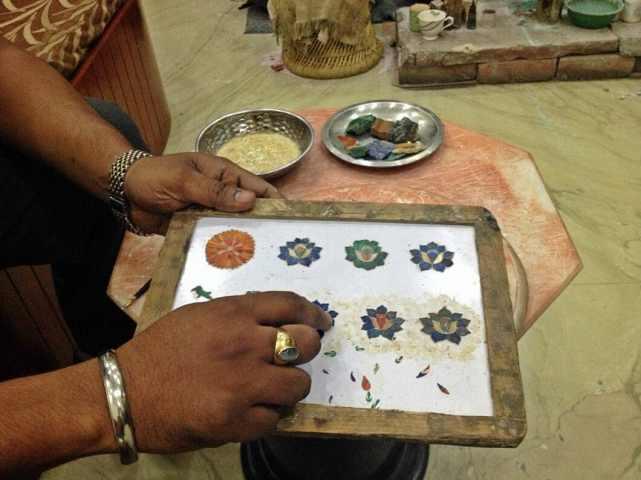 Marble tiles near the Taj Mahal.