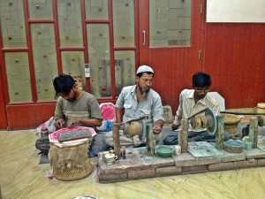 Marble makers near the Taj Mahal.