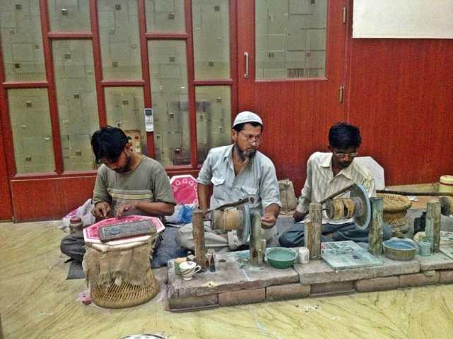 Marble makers near the Taj Mahal.