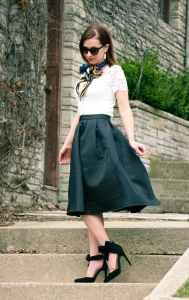 Romwe Black Midi Skirt