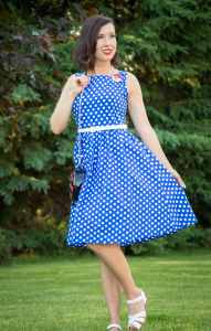 Shein blue polka dot dress