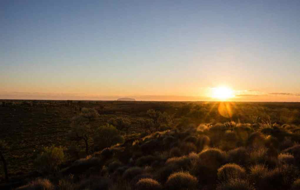 Watching the sunrise over Uluru.