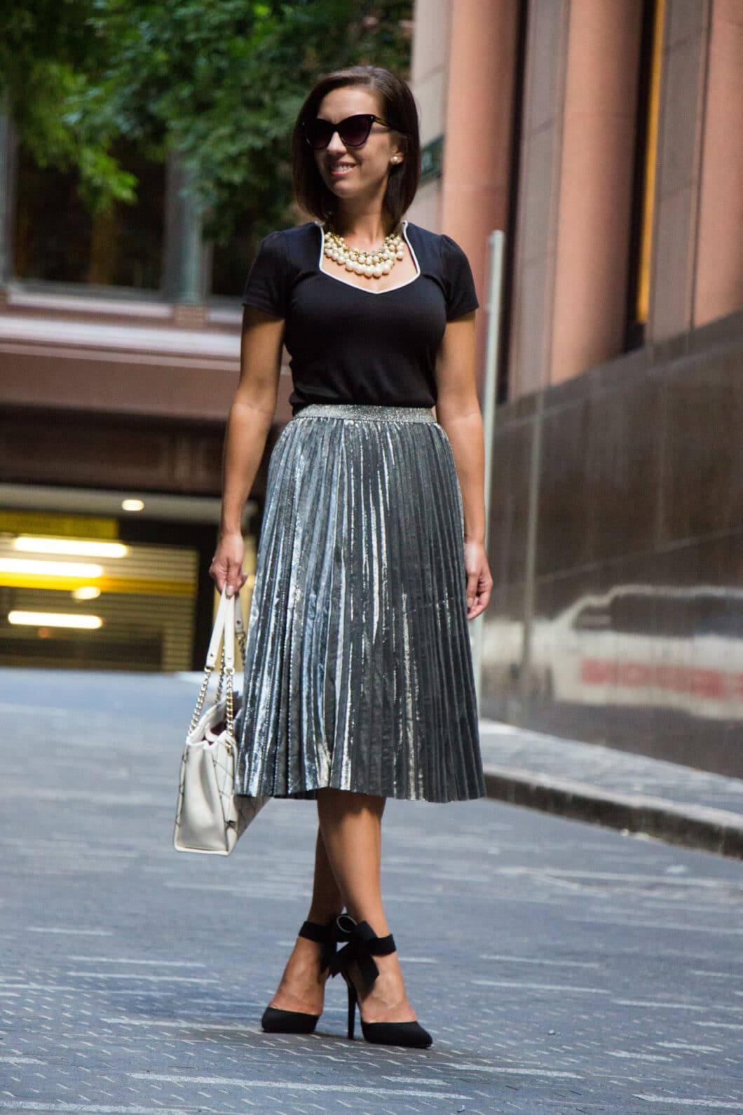Pearls, Bows & Metallic Skirts
