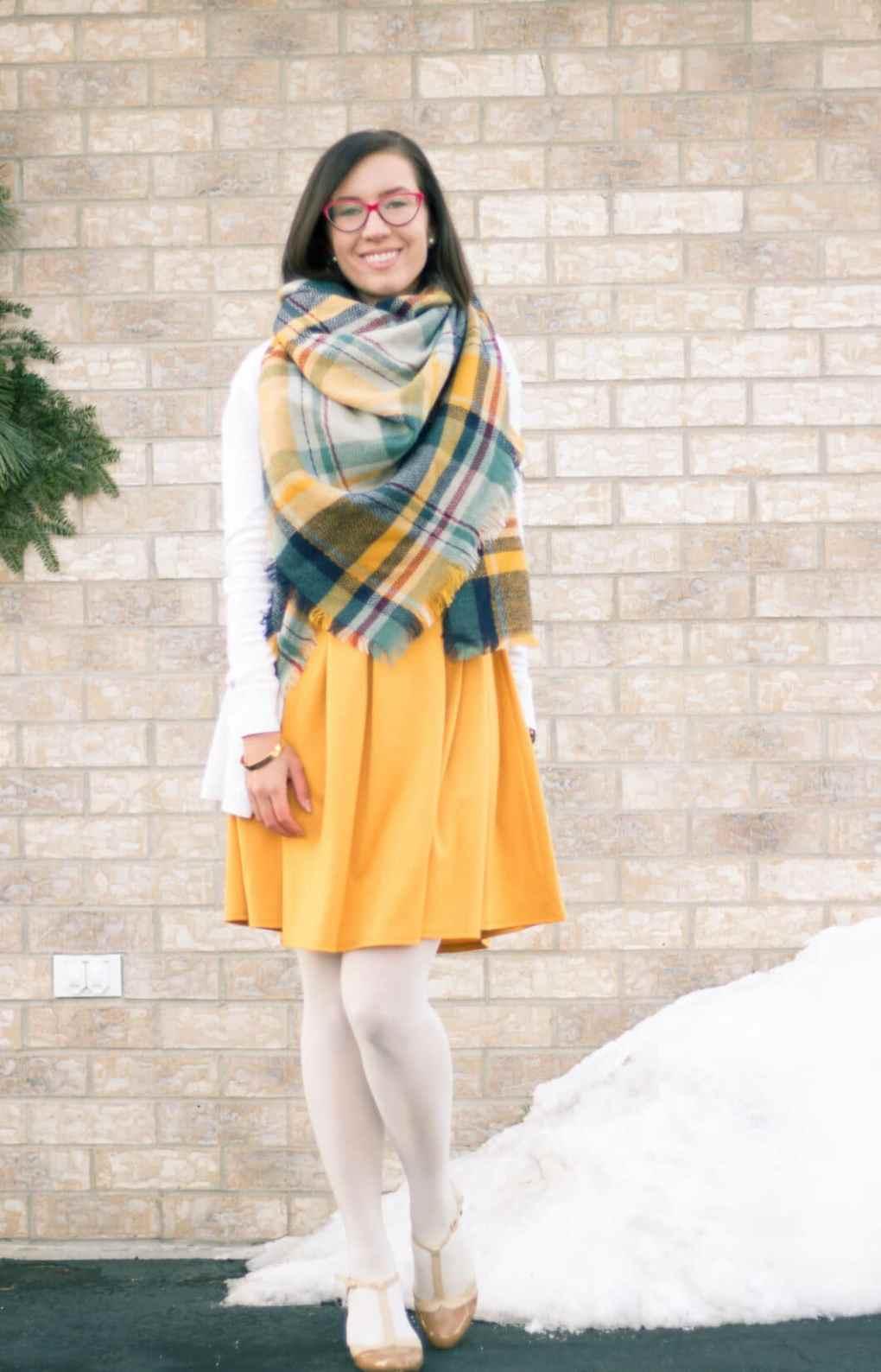 Yellow blanket scarf ModCloth dress