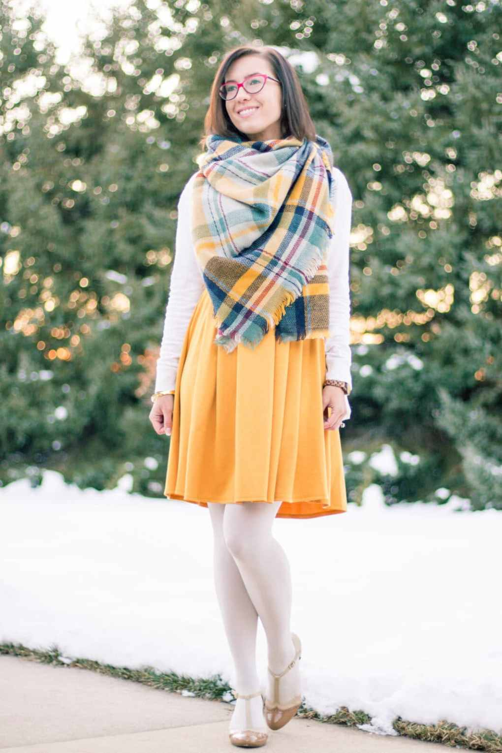 blanket scarf and modcloth dress