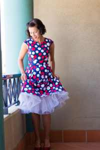 polka dot dress and white petticoat