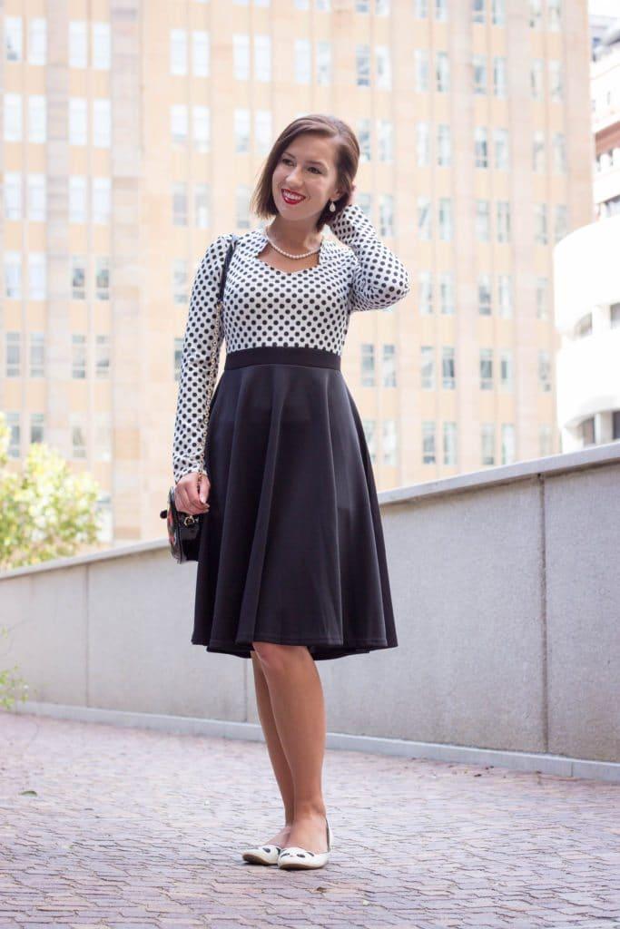 Fashionmia polka dot flare dress