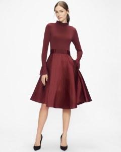 ZADI Knitted Frill Full Skirt Dress