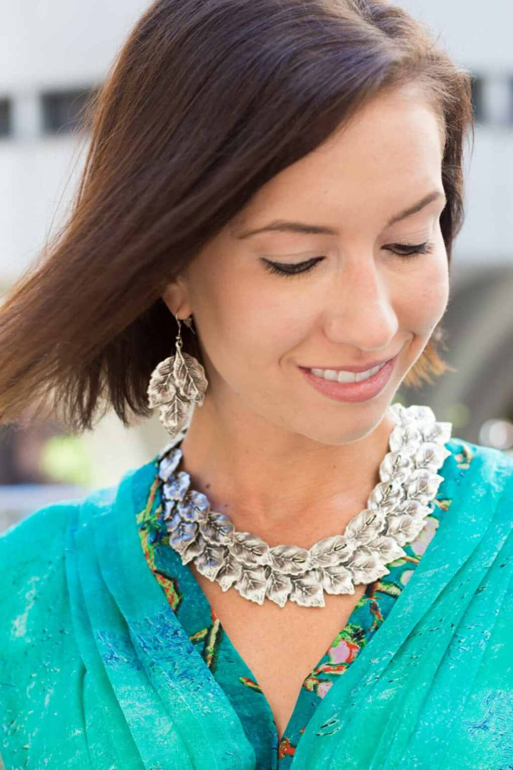 leaf necklace and earrings