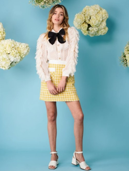 DREAMING DAISIES Honey Bee Tweed Mini Skirt