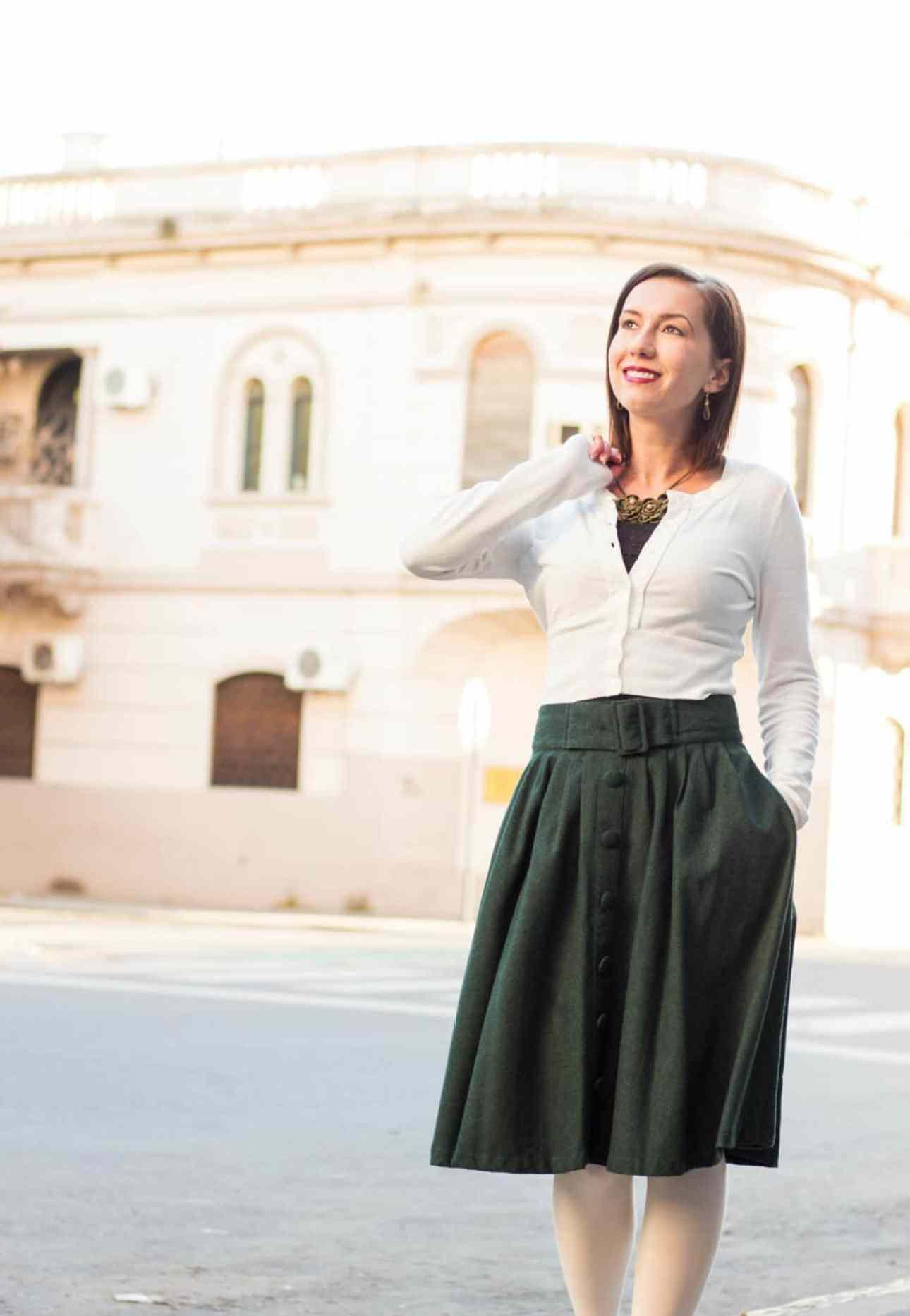 Cropped cardigan and ModCloth Midi Skirt