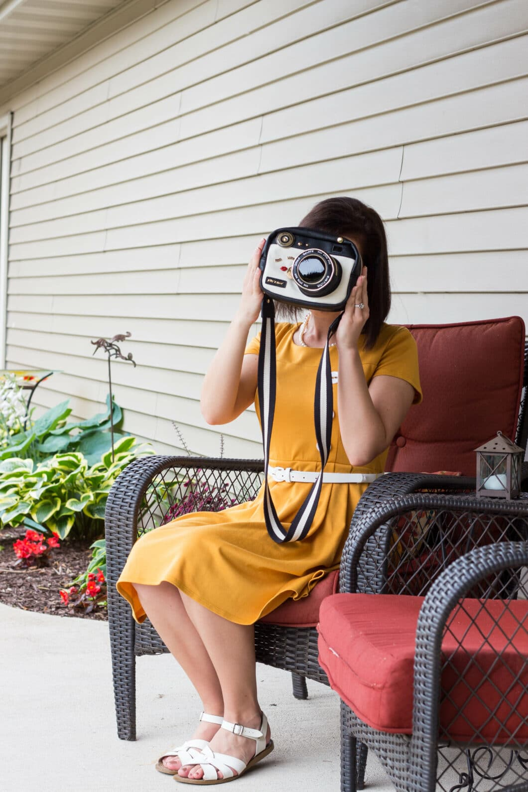 ModCloth Yellow Dress and Betsey Johnson Camera Purse