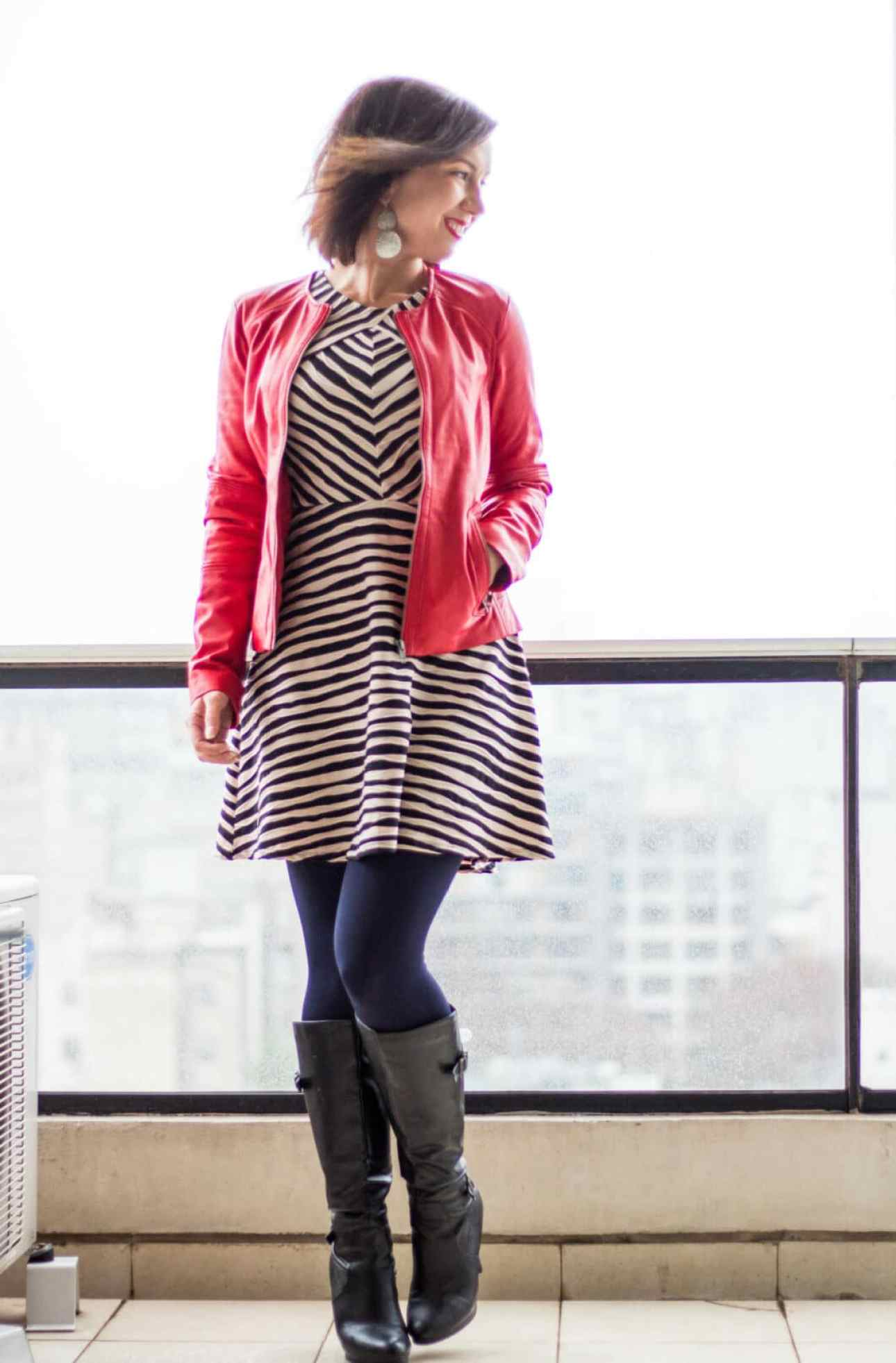 Wilsons Leather red leather jacket and dress