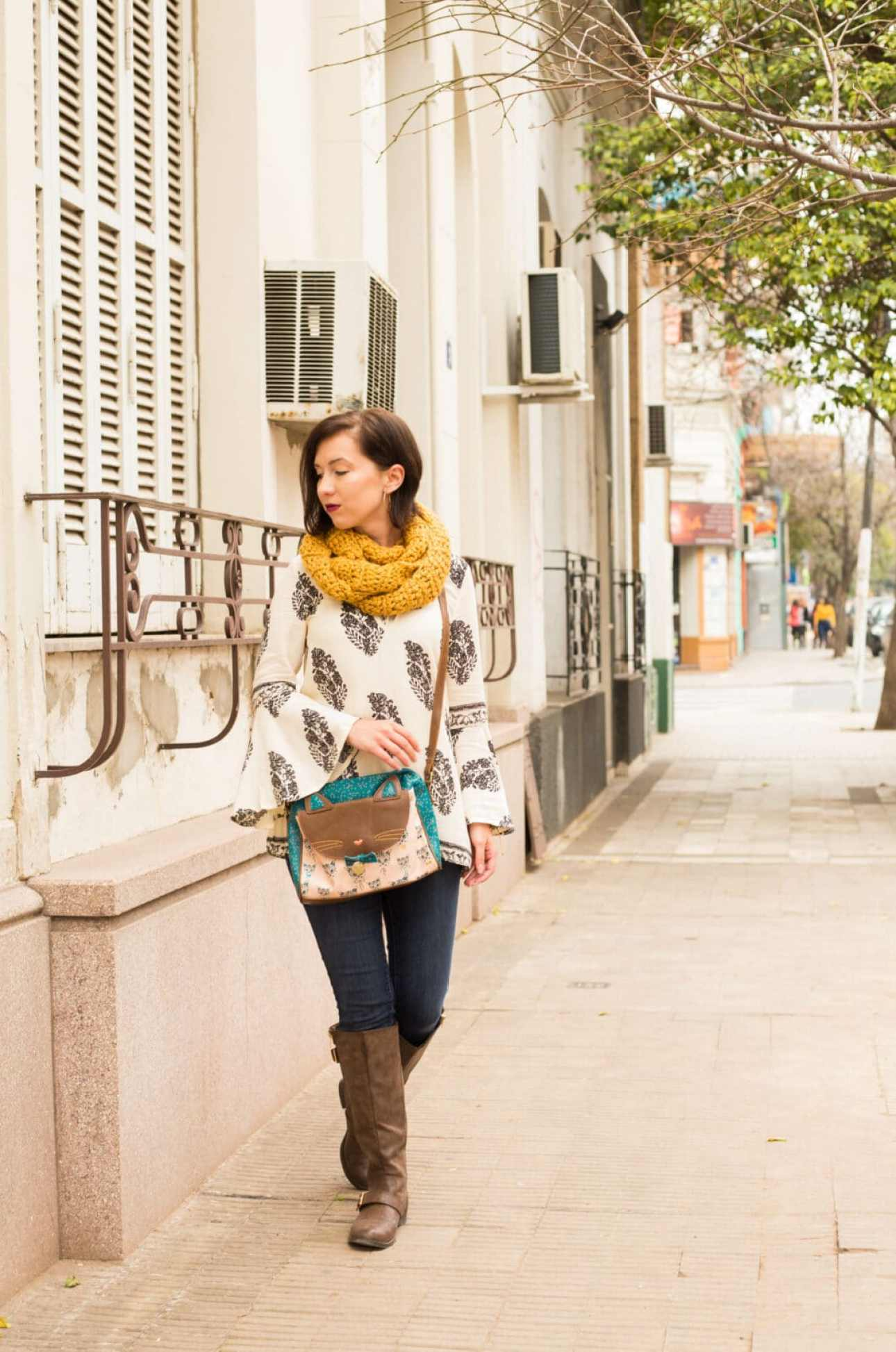 Shein top and ModCloth cat bag