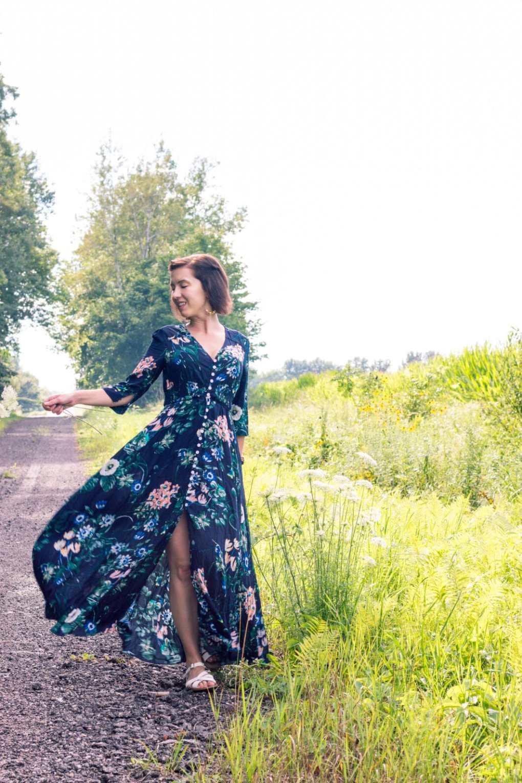 shein floral button maxi dress