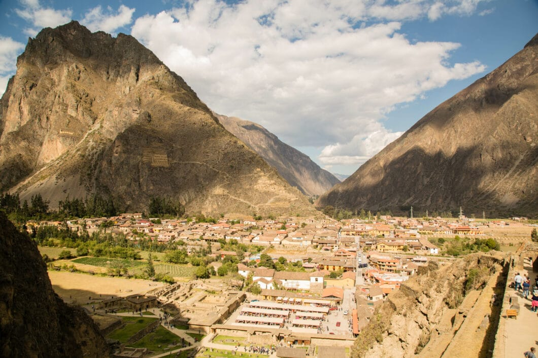 View of Ollantaytambo from the ruins.