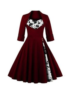 Olddnew Women's Retro Vintage Cocktail Dress - Plus Size Long Sleeves, 50's Style Rockabilly Swing Party Dresses For Women