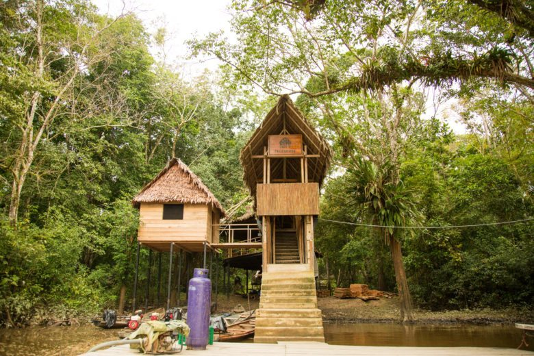 The entrance to the Treehouse Lodge.