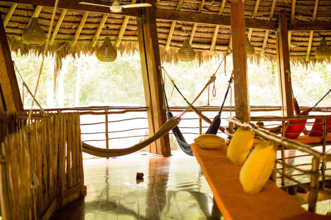 hammocks in the main lodge