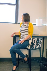 black and white outfit with yellow cardigan