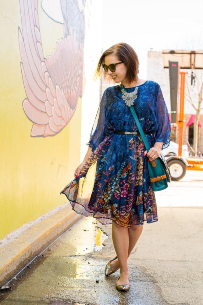 EvaTrends floral smock dress