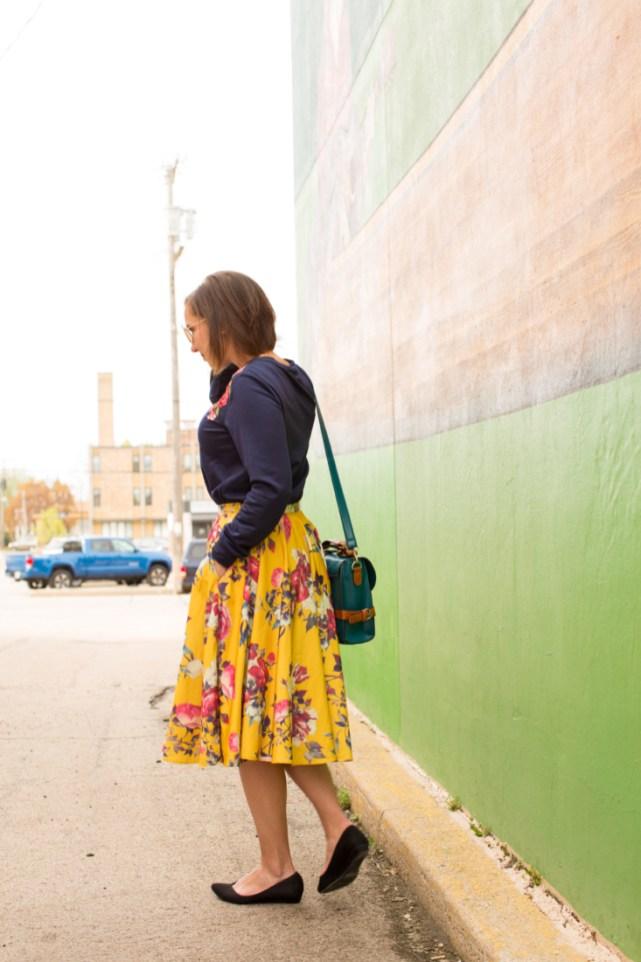 Shein floral sweatshirt & ModCloth floral skirt