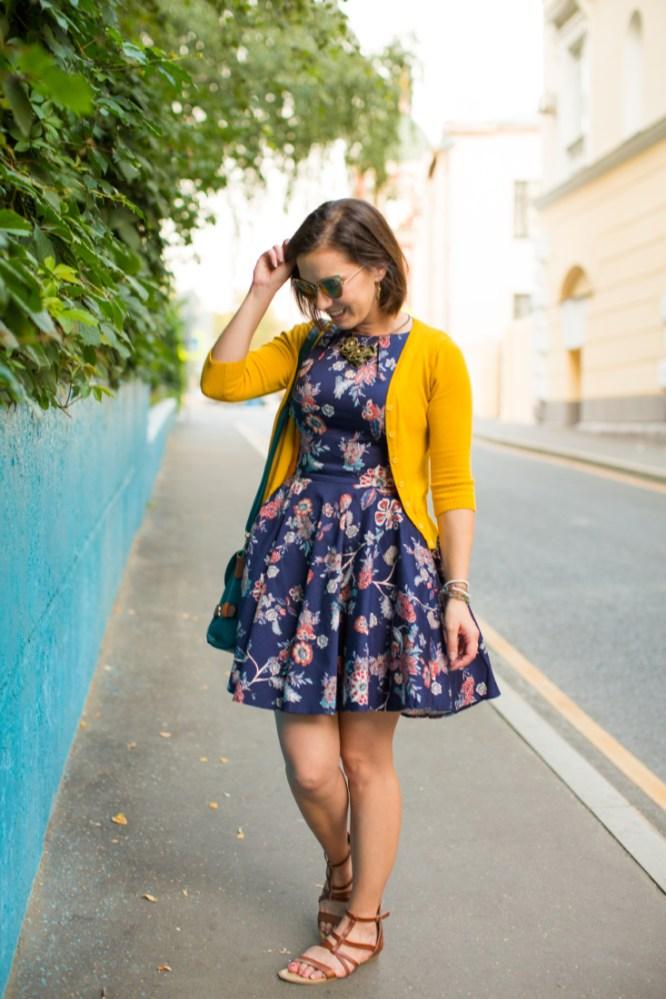 Floral dress + yellow cardigan