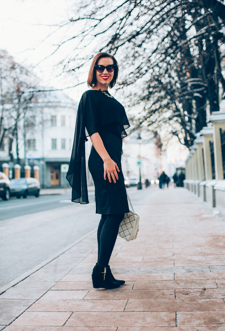 Grace Karin Black Cape Dress 30th Birthday Outfit