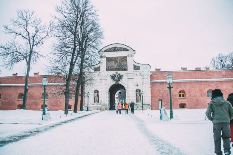 Entering the Peter and Paul Cathedral fortress.