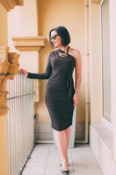 Brown One Shoulder Ruched Slinky Midi Dress - Savannah