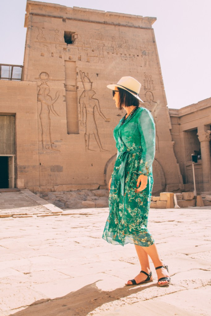 Blue Silk Long Sleeve Floral-print Wrap Dress - Egypt Travel Dress worn in Aswan