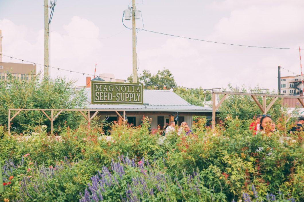 The garden area at Magnolia Market