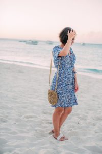 Wrap dress for Sandals and Beaches dress code evening wear dinner