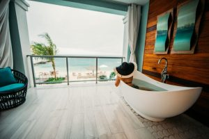 The soaking tub on our balcony at Sandals Montego Bay.