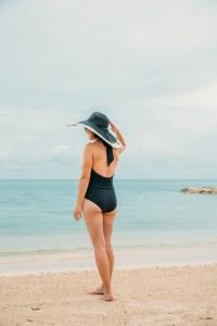 Unique Vintage Black Halter Shirred Derek One Piece Swimsuit Review