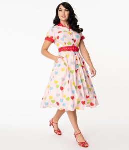 Unique Vintage Valentine Heart Print Venus Swing Dress