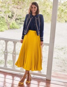 Kristen Pleated Skirt - Tuscan Sun