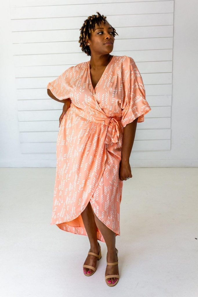 Stylized Feather Maxi Wrap in Peach & Cream