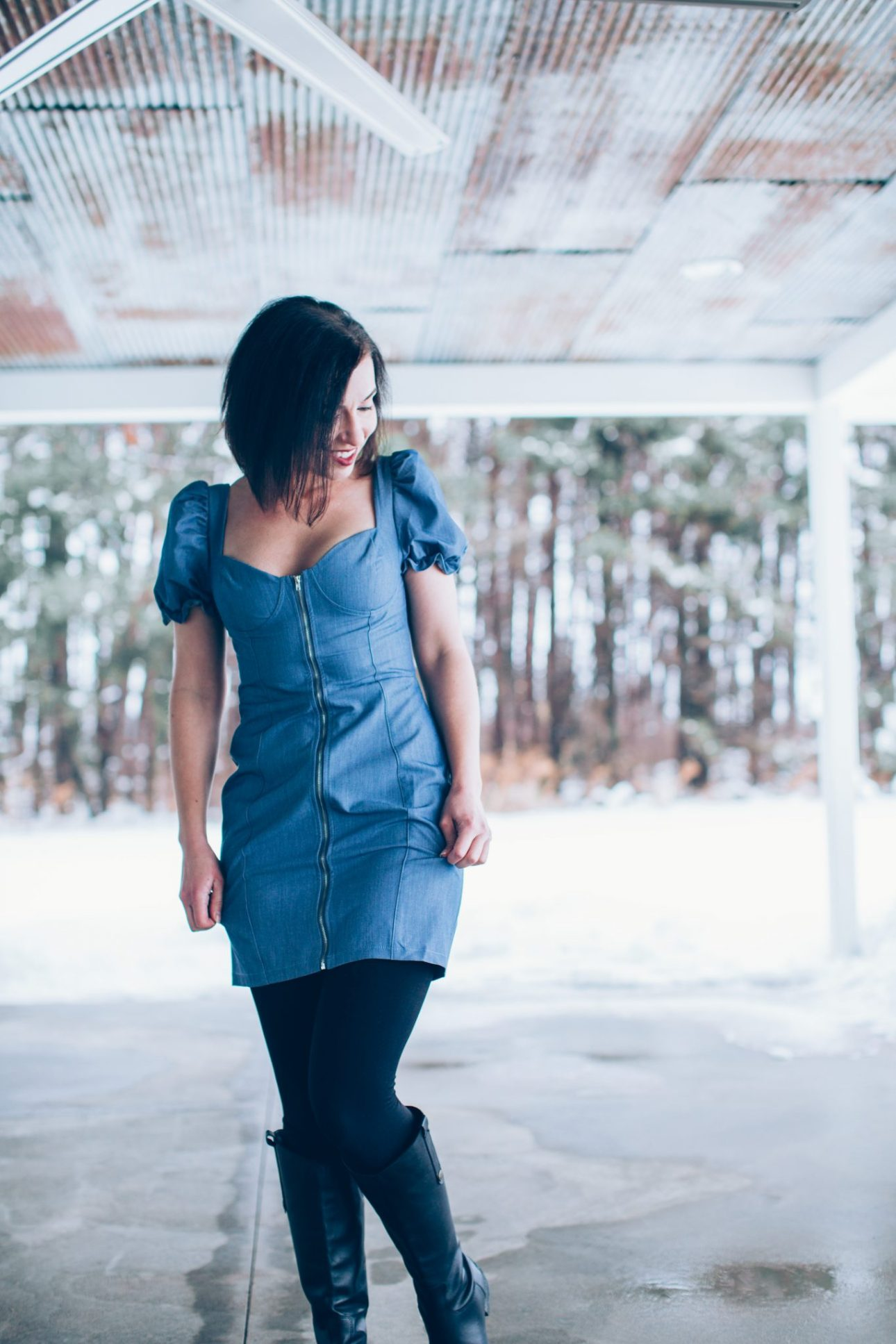 Styling a Denim Mini Dress With Leggings + Boots for Winter