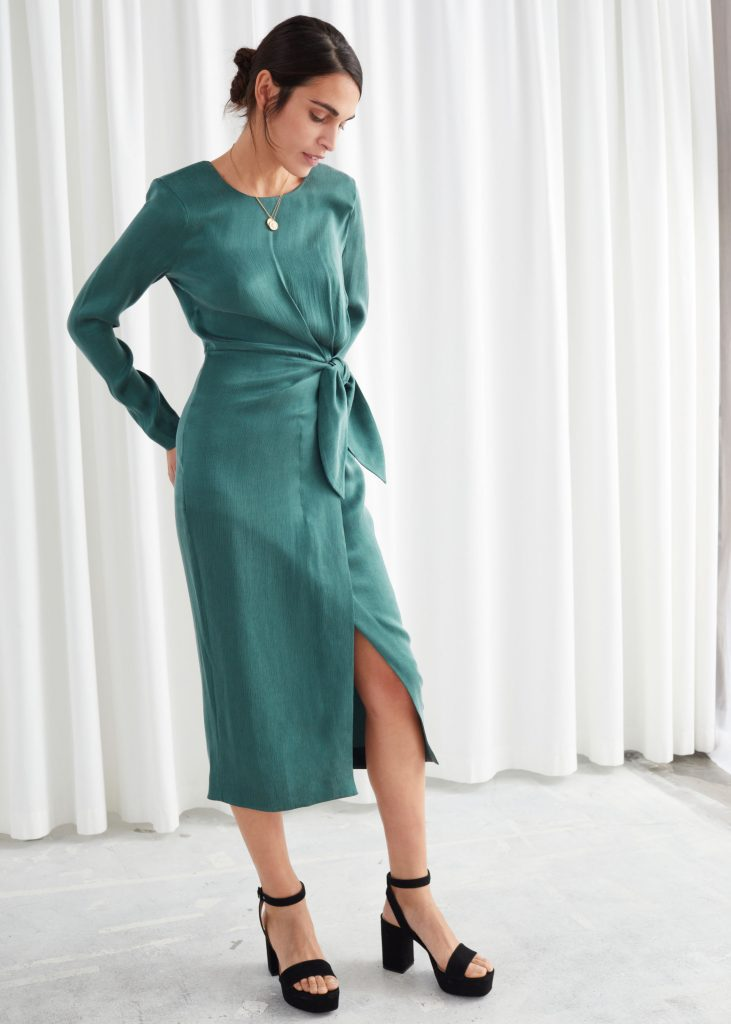 Satin Side Knot Midi Dress - & other stories