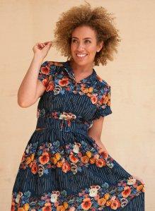 LOUISE - NAVY FLORAL GARLAND DRESS | COTTON LINEN BLEND